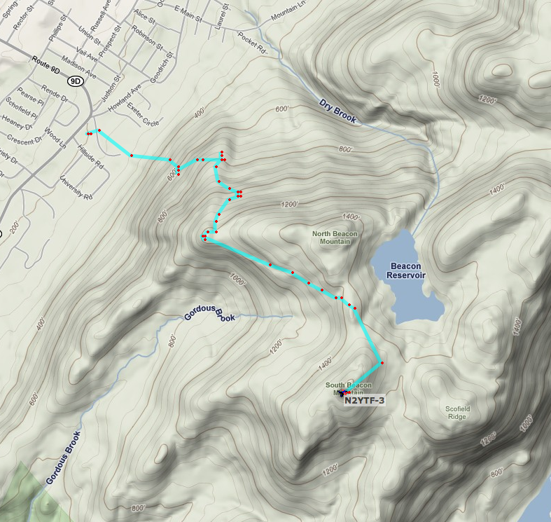 APRS track of our hike up South Beacon Mountain